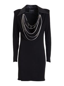 John Richmond - Short dress with necklaces in black