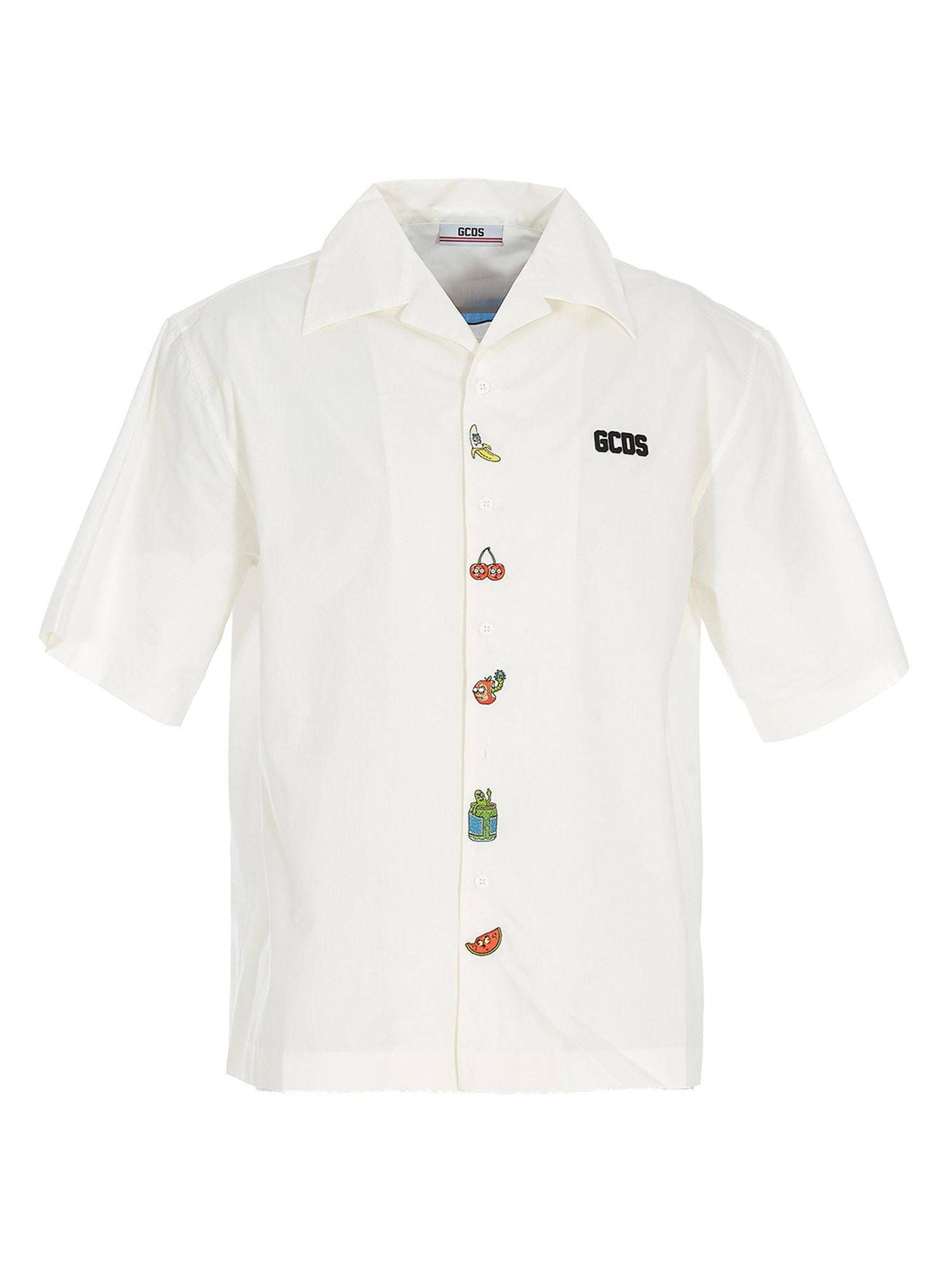 Gcds Cottons EMBROIDERED COTTON SHIRT IN WHITE