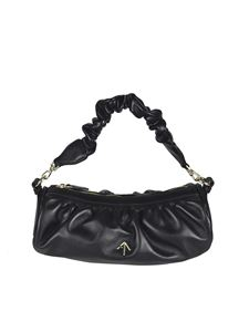 Manu Atelier - Ruched Cylinder Chain bag in black