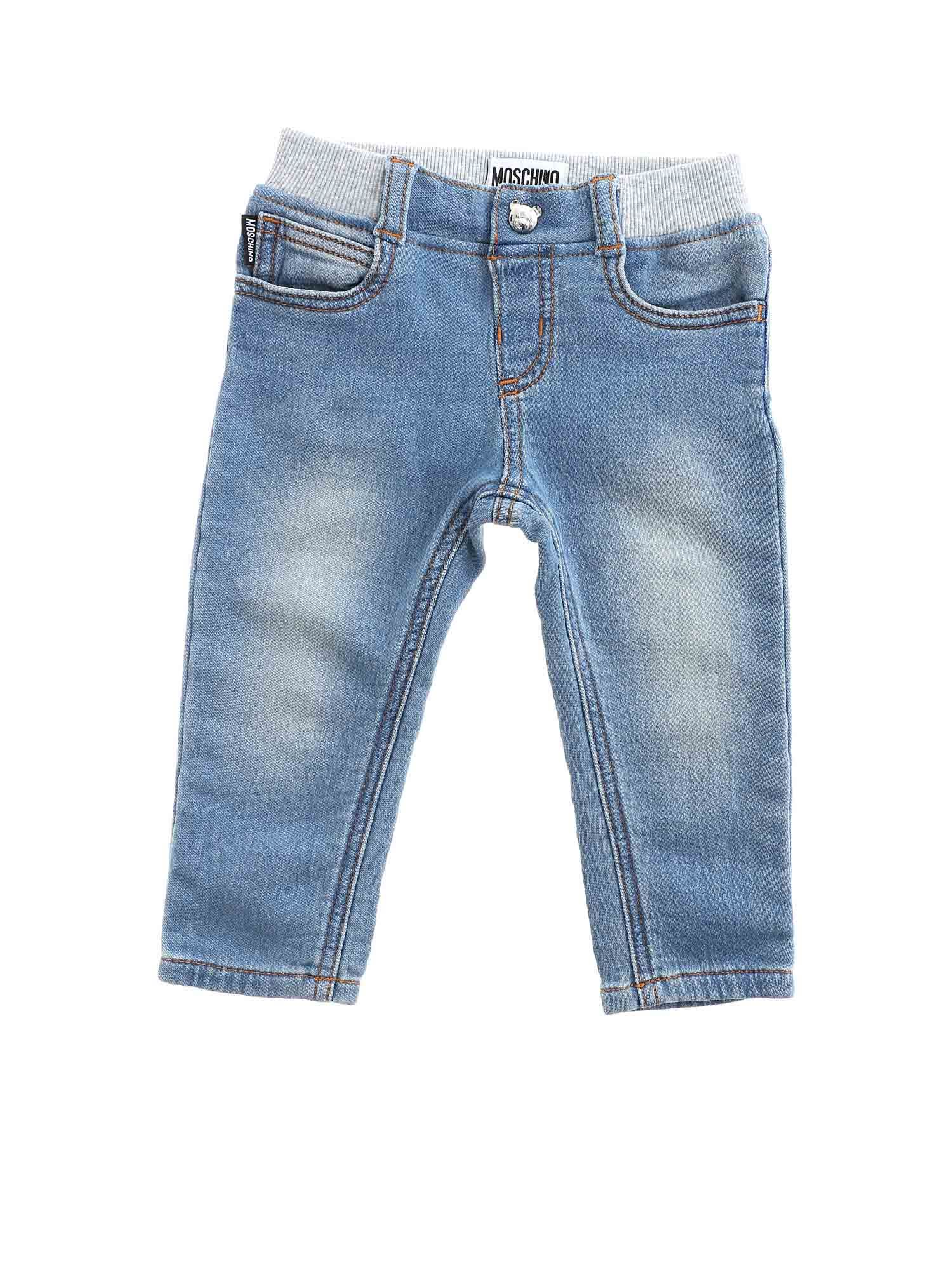 Moschino LOGO PATCH JEANS IN LIGHT BLUE