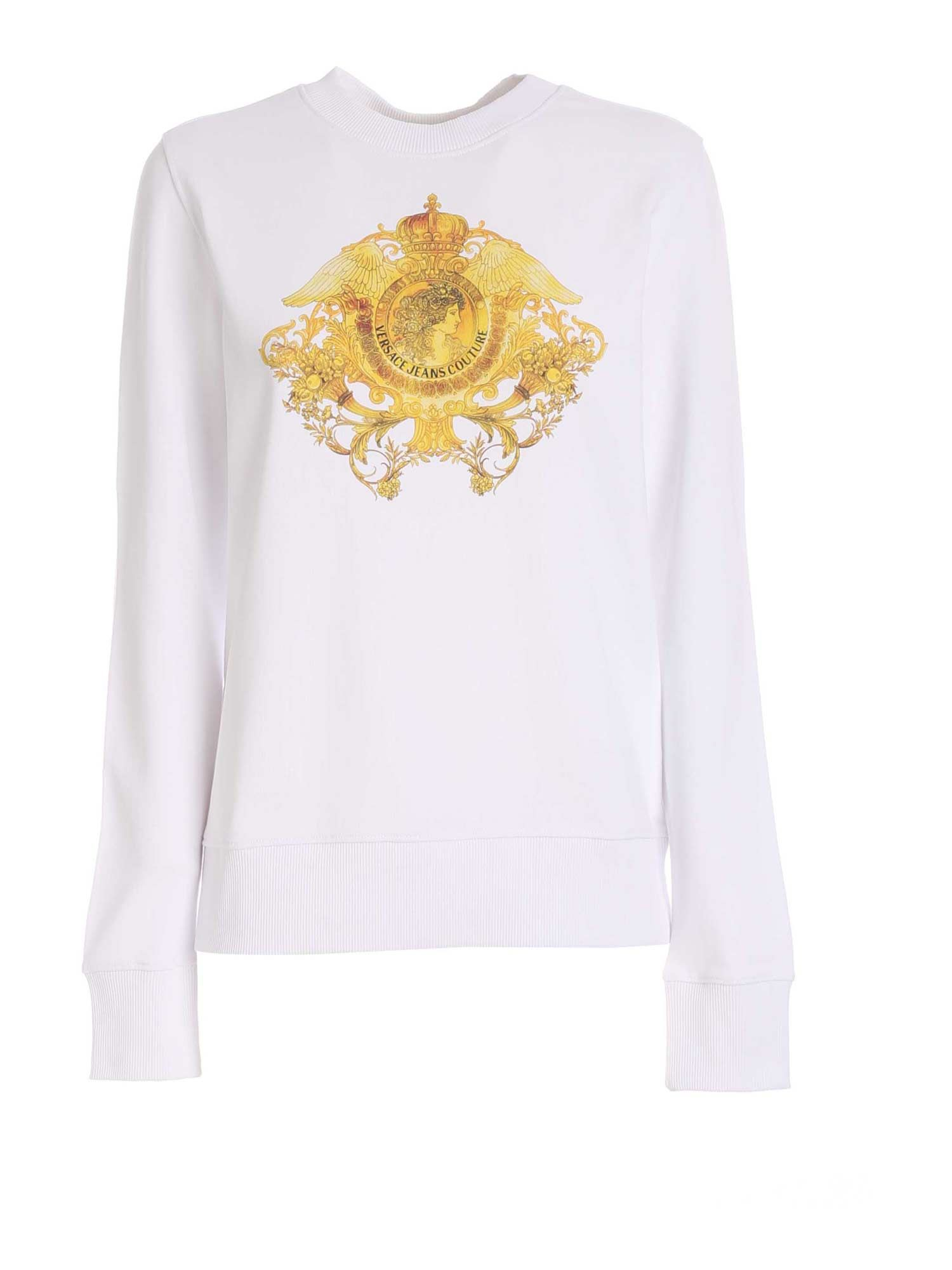 Versace Jeans Couture BAROQUE PRINT SWEATSHIRT IN WHITE