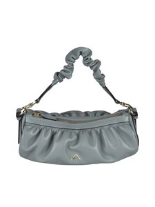 Manu Atelier - Ruched Cylinder Chain bag in Stone Blue