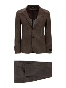 Z Zegna - Pinstriped linen suit in brown