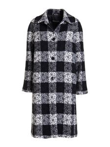 Ermanno by Ermanno Scervino - Checked wool blend coat in black