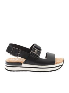 Hogan - Metallic H sandals in black