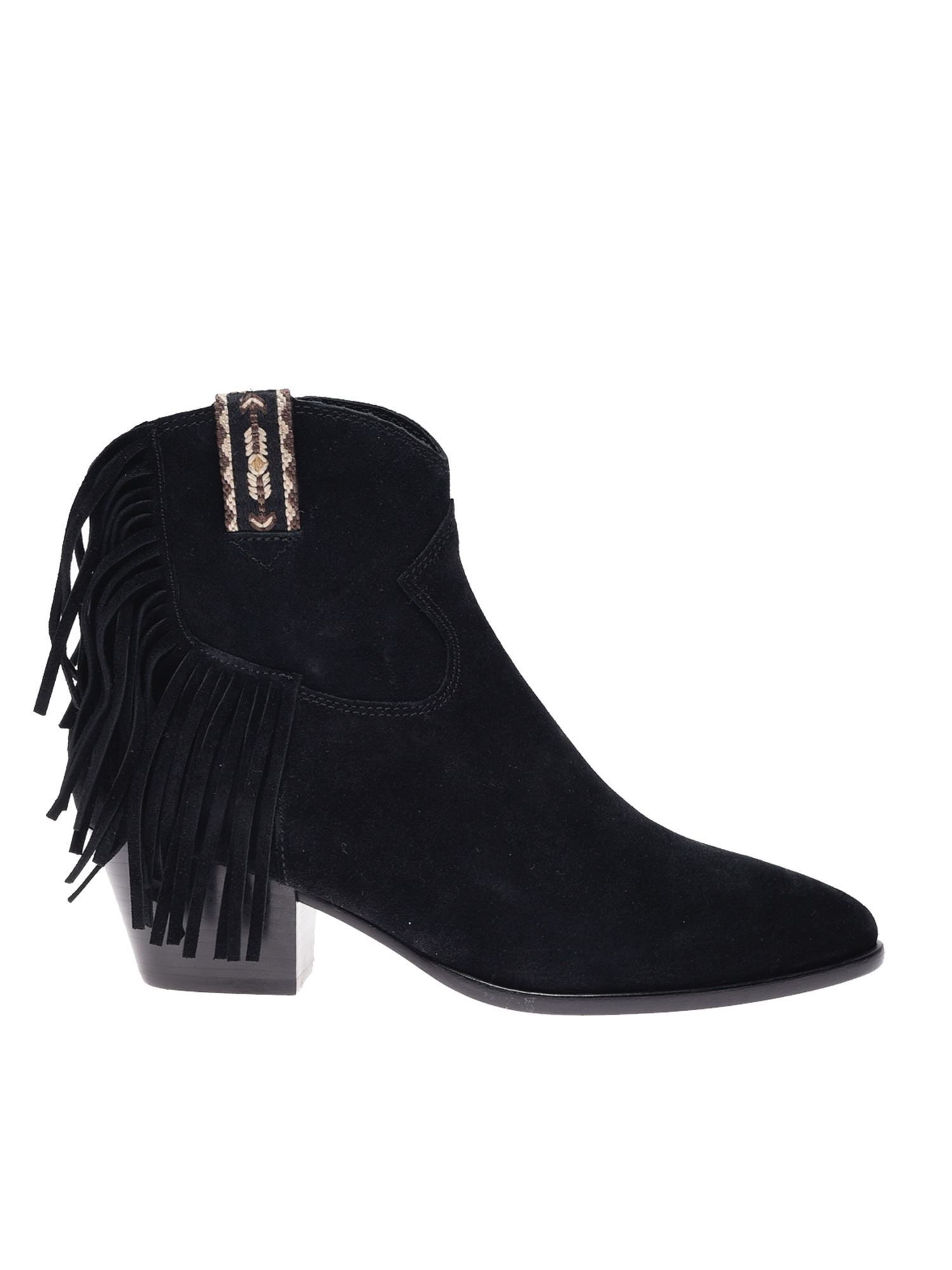 Ash Suedes HYSTERIA ANKLE BOOTS IN BLACK
