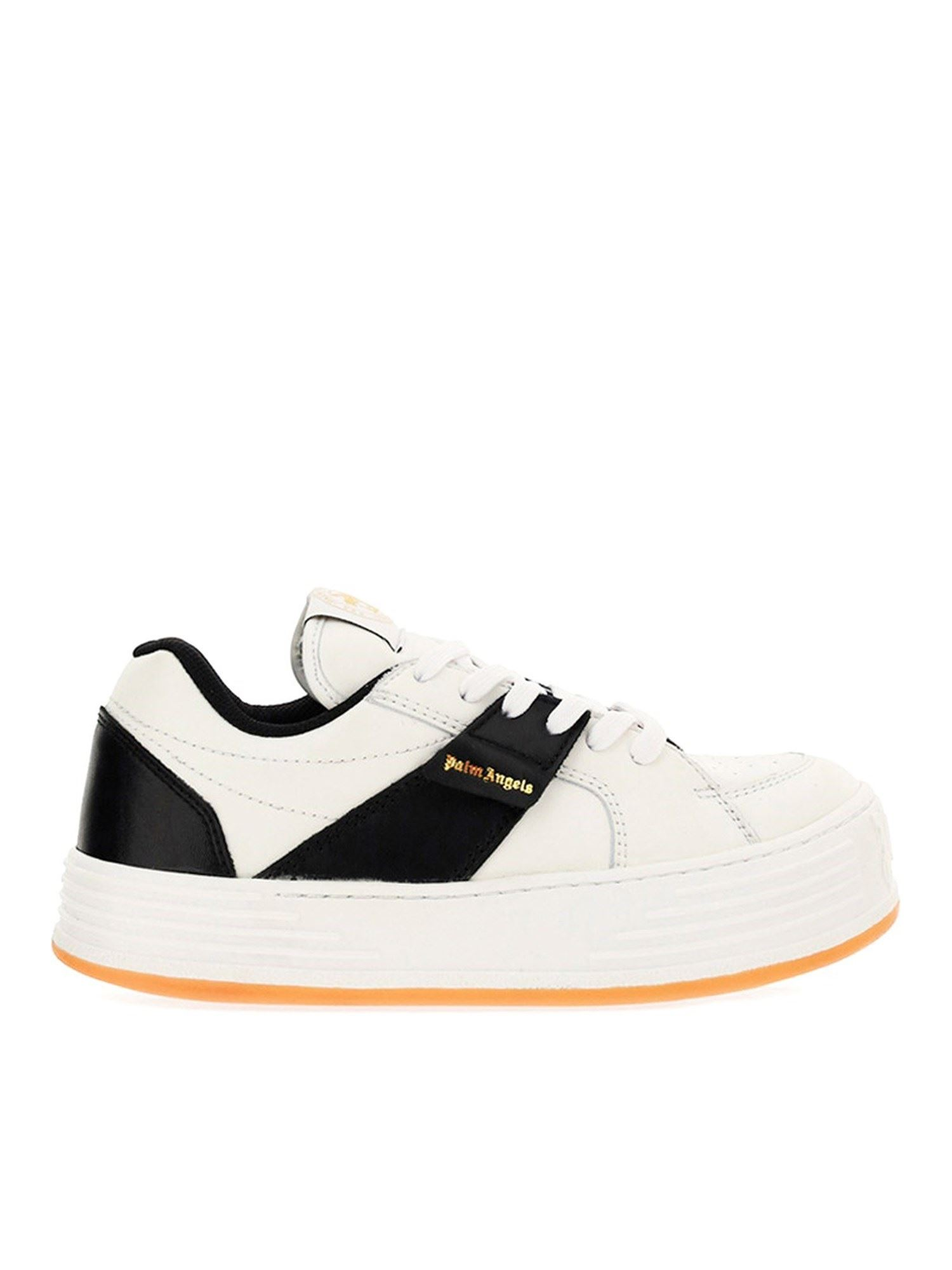 Palm Angels OVERSIZED SOLE CALFSKIN SNEAKERS IN WHITE