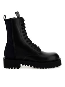 Valentino Garavani - Neoprene and leather combat boots in black