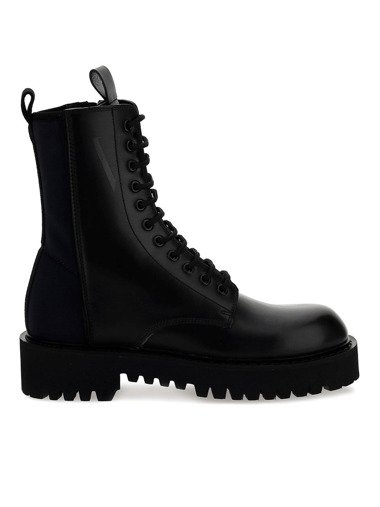 Valentino Leathers NEOPRENE AND LEATHER COMBAT BOOTS IN BLACK