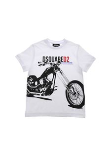 Dsquared2 - Motorcycle print T-shirt in white
