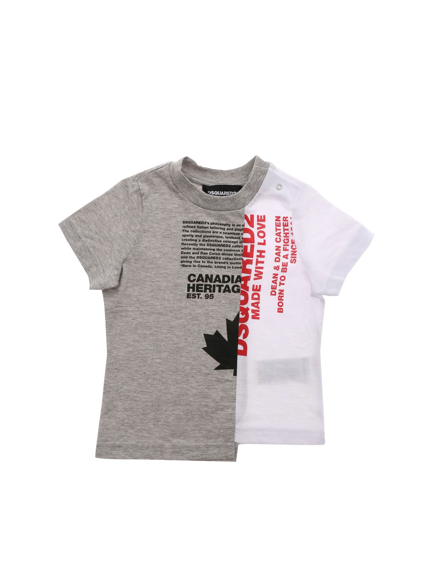 Dsquared2 Cottons PRINTED LOGO T-SHIRT IN GREY