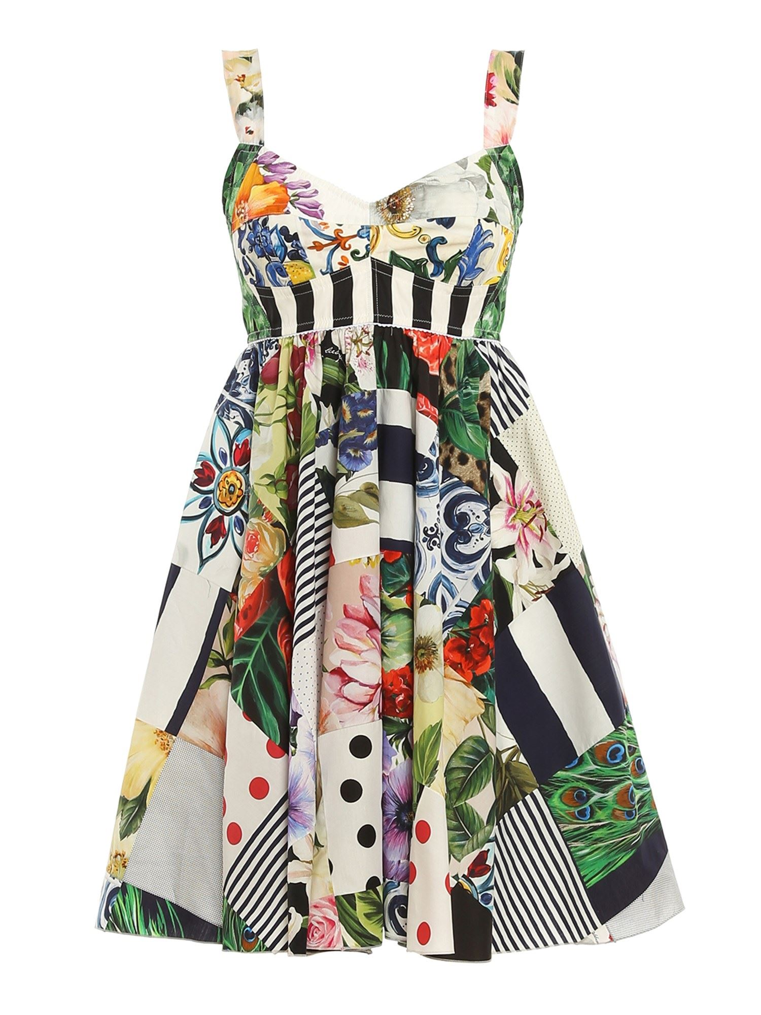 Dolce & Gabbana PATCHWORK PRINTED DRESS IN MULTICOLOR