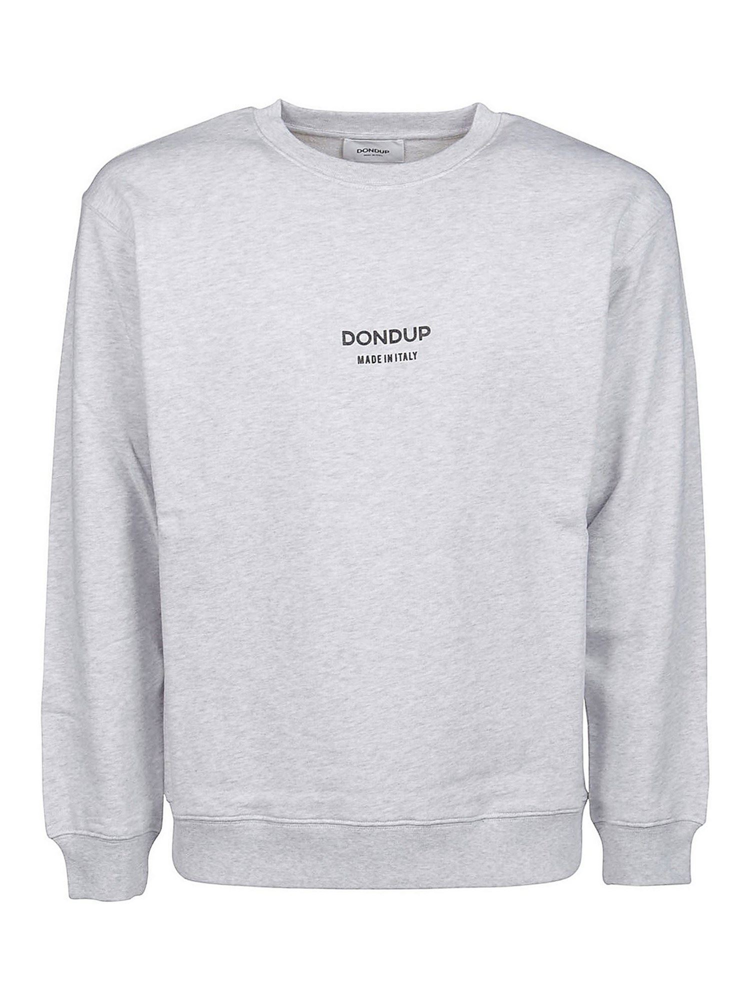Dondup Cottons LOGO SWEATSHIRT IN MELANGE GRAY
