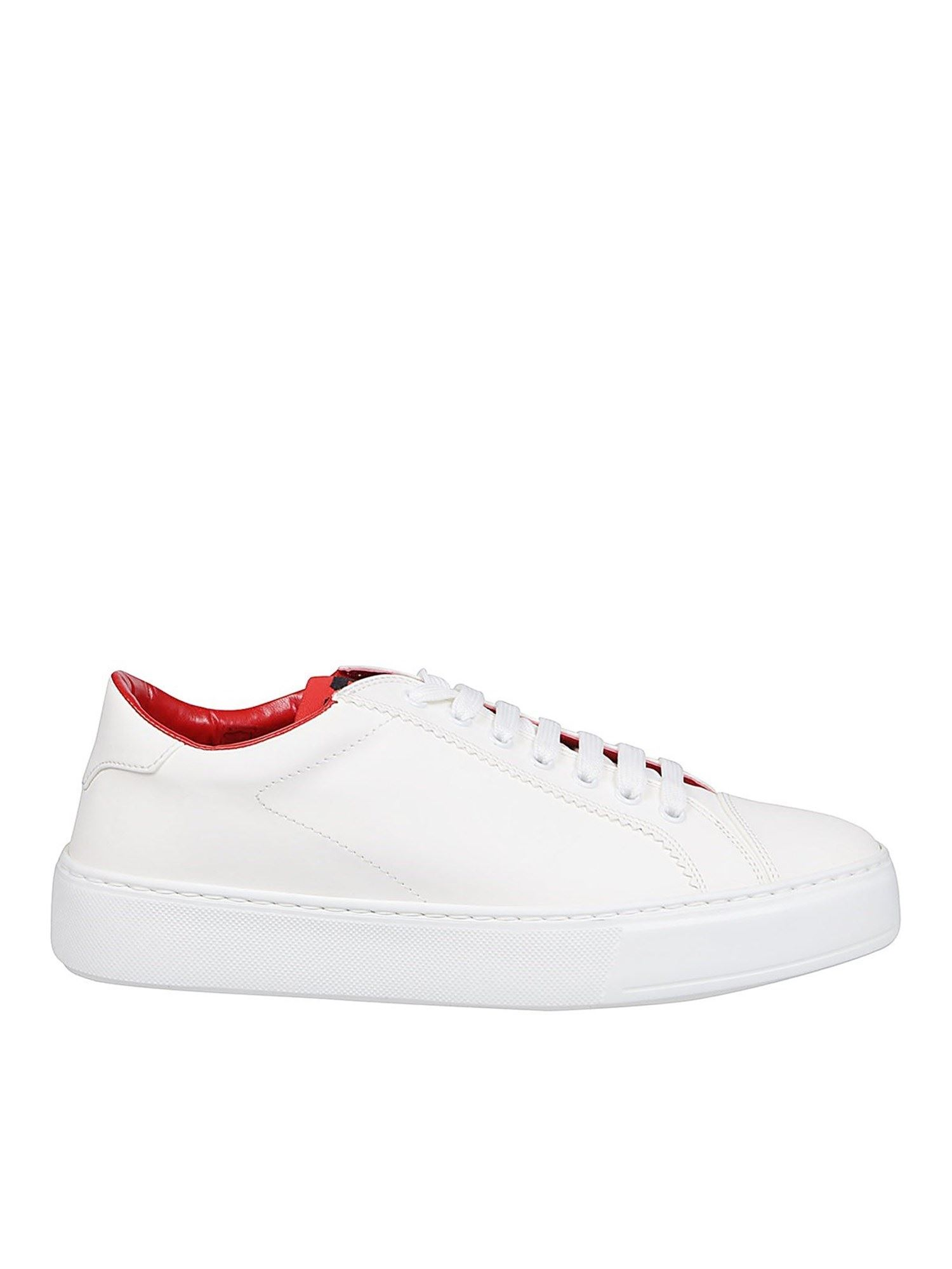 Gcds LEATHER SNEAKERS IN WHITE