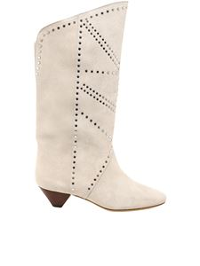 Isabel Marant - Embellished suede booties in light gray