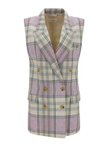 Isabel Marant Étoile - Tartan linen double-breasted vest in lilac color