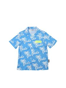 GCDS - Hawaiian shirt in light blue and white