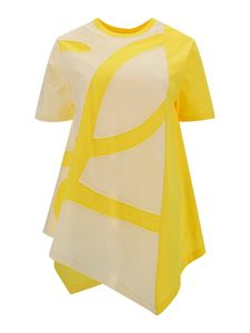 Loewe - Cotton asymmetric T-shirt in yellow and white