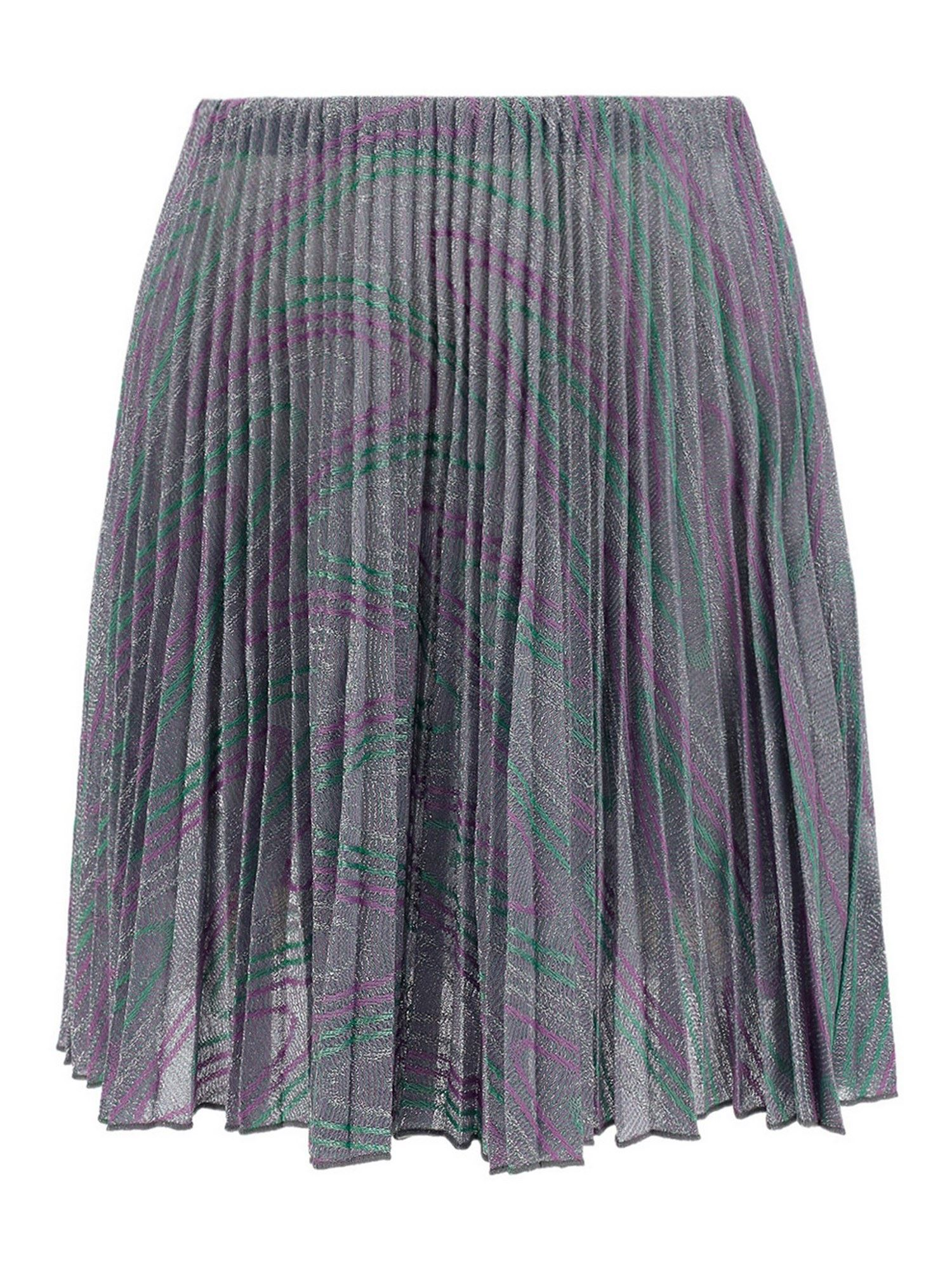 M Missoni Cottons COTTON BLEND PLEATED SKIRT IN SILVER COLOR