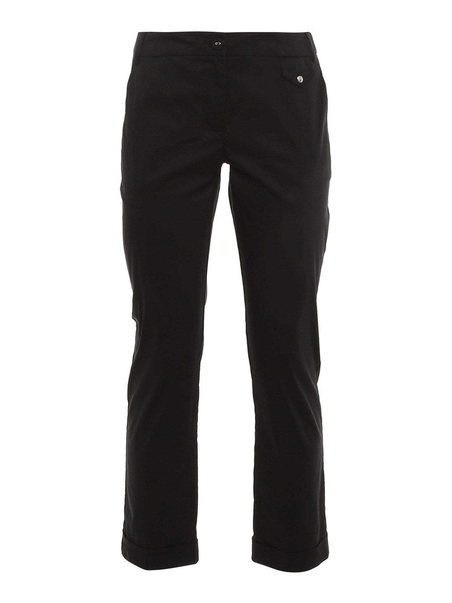 Patrizia Pepe Cottons CROPPED COTTON BLEND TROUSERS IN BLACK