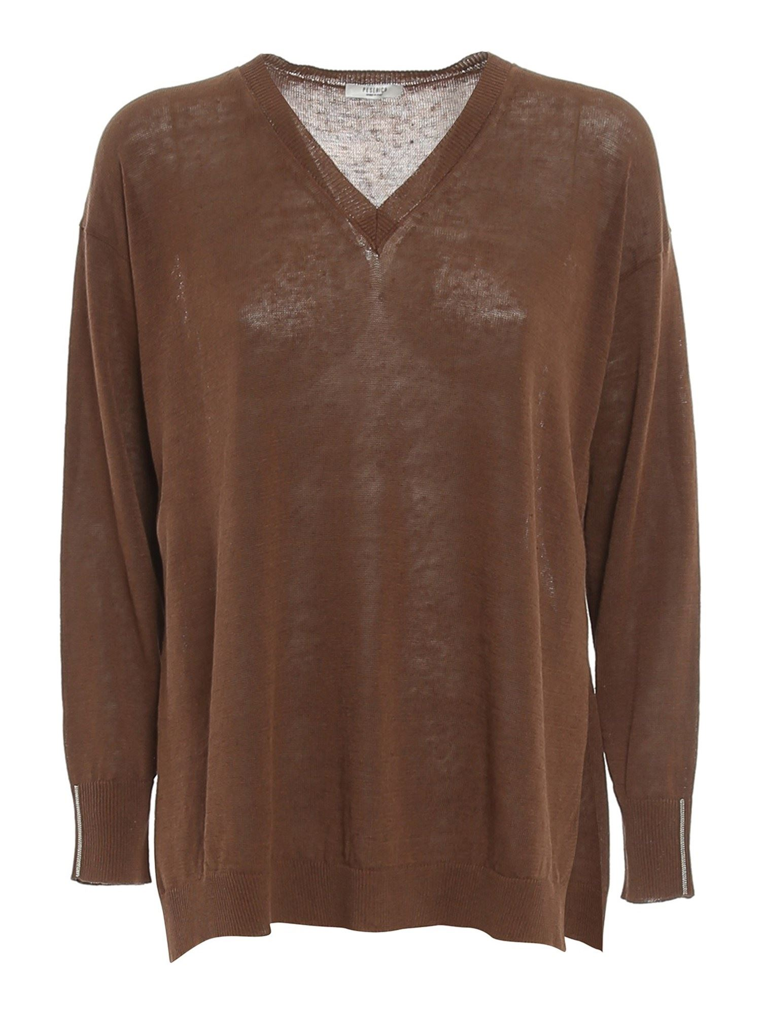 Peserico V-NECK RIBBED SWEATER IN BROWN