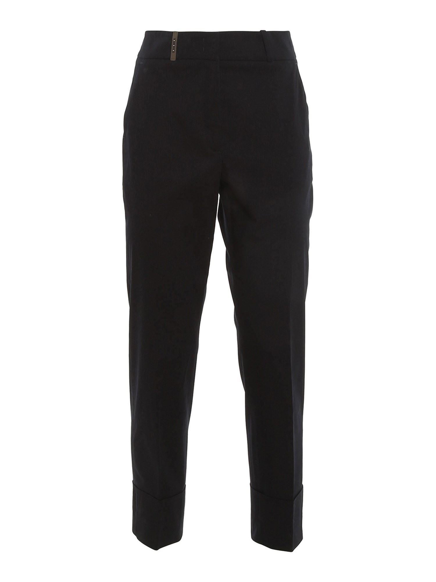 Peserico LEATHER DETAIL PANTS IN BLACK