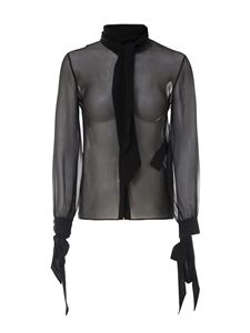 Saint Laurent - Bow detail silk shirt in black