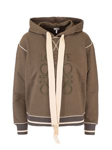Loewe - Angram embroidered hoodie in Khaki Green