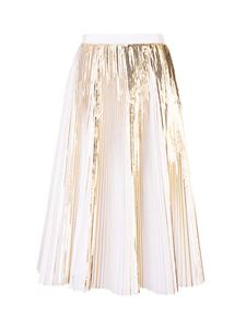 Valentino - Pleated skirt in white and gold