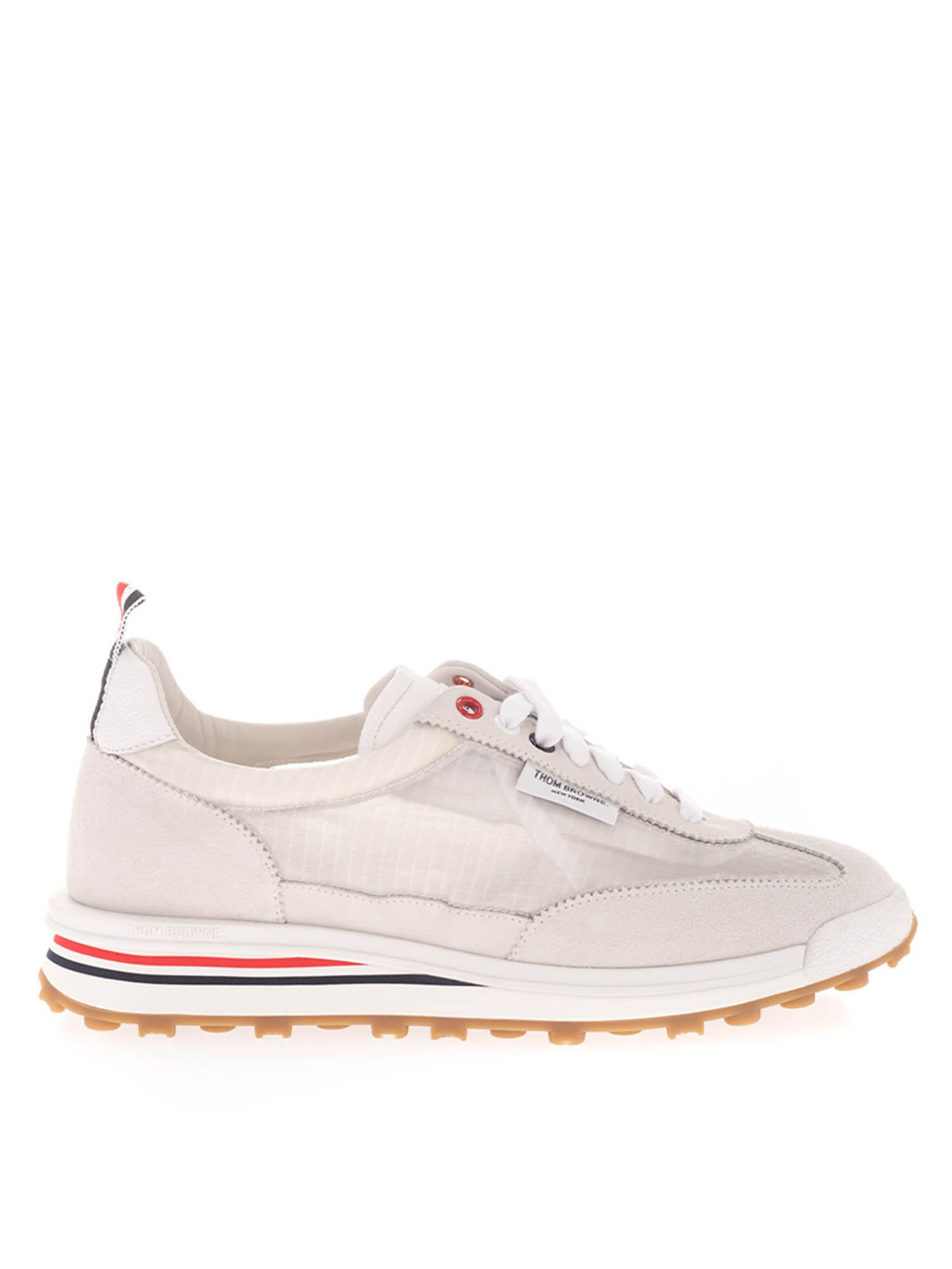 Thom Browne FABRIC AND SUEDE SNEAKERS IN WHITE