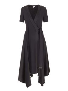 Loewe - Asymmetric wrap midi dress in black