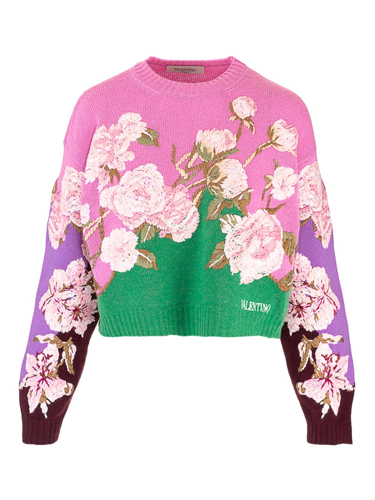 Valentino FLORAL CROP SWEATER IN PINK