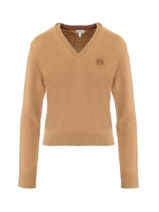 Loewe - Anagram V-neck pullover in brown