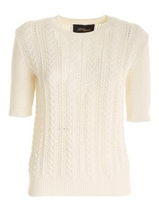 Les Copains - Drilled short sleeves sweater in ivory color
