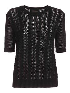 Les Copains - Drilled short sleeves sweater in black