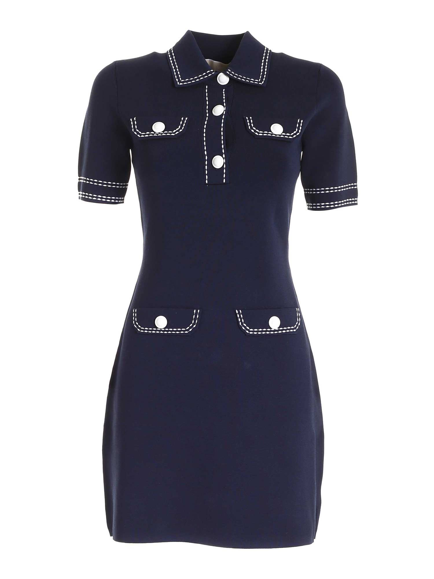 Michael Kors CONTRASTING STITCHING DRESS IN BLUE