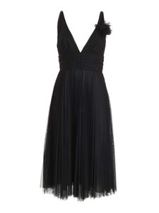 Blumarine - Pleated tulle dress in black