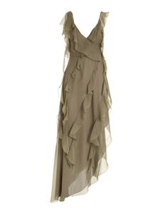 Blumarine - Ruffles silk dress in green
