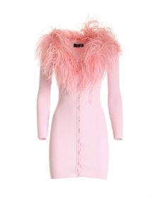 Blumarine - Feather collar long cardigan in pink
