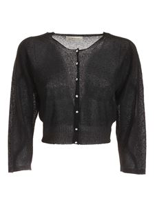 Blumarine - Lamé crop cardigan in black