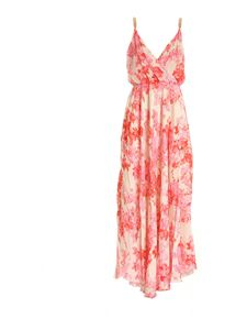Blumarine - Long dress in pink and cream color