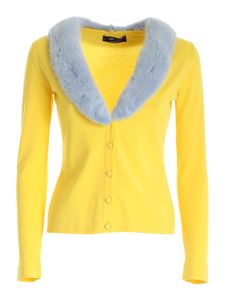 Blumarine - Fur collar cardigan in yellow