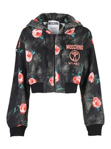 Moschino - Floral printed cropped hoodie in black