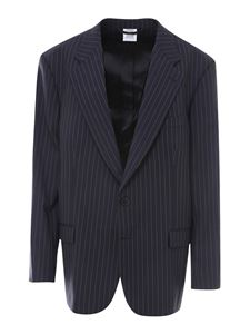 Vetements - Blazer gessato in lana blu