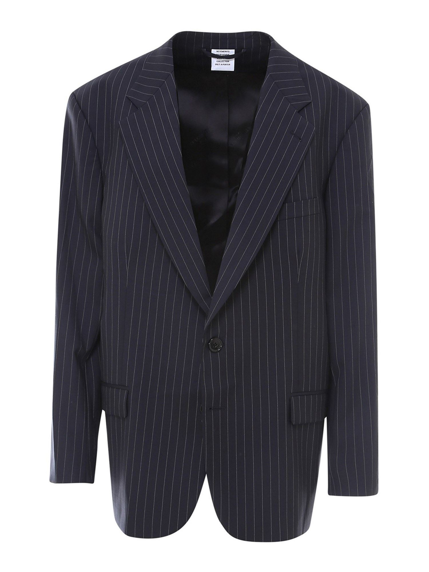 Vetements PINSTRIPED WOOL BLAZER IN BLUE