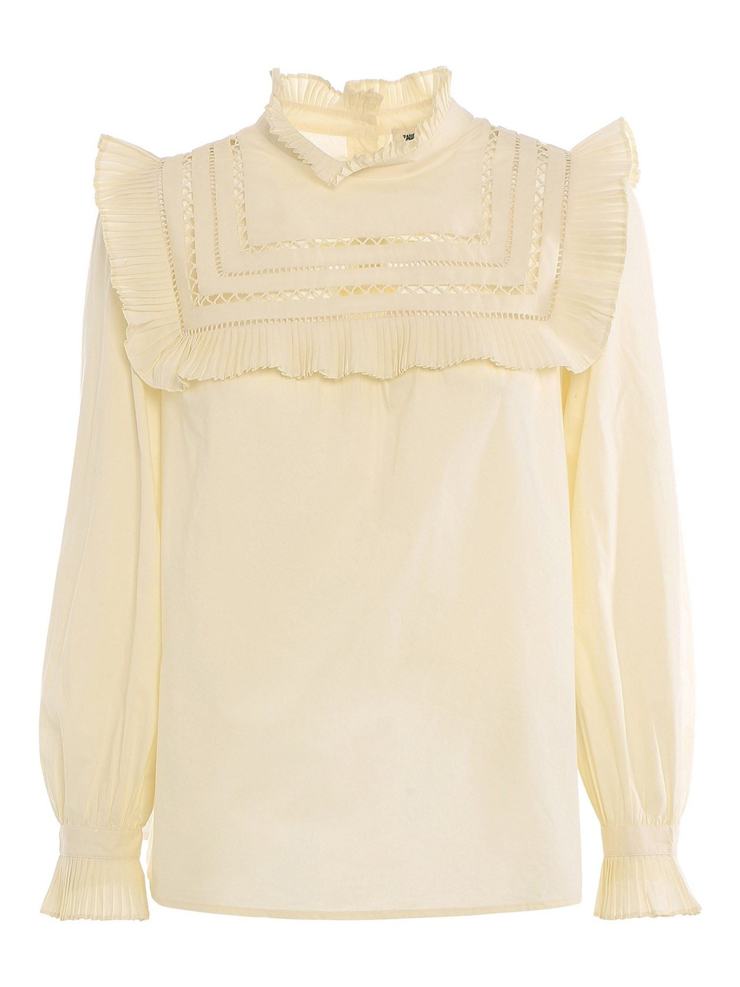 Zadig & Voltaire HIGH NECK BLOUSE IN CREAM COLOR