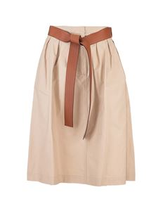 Loewe - Beige skirt with leather belt