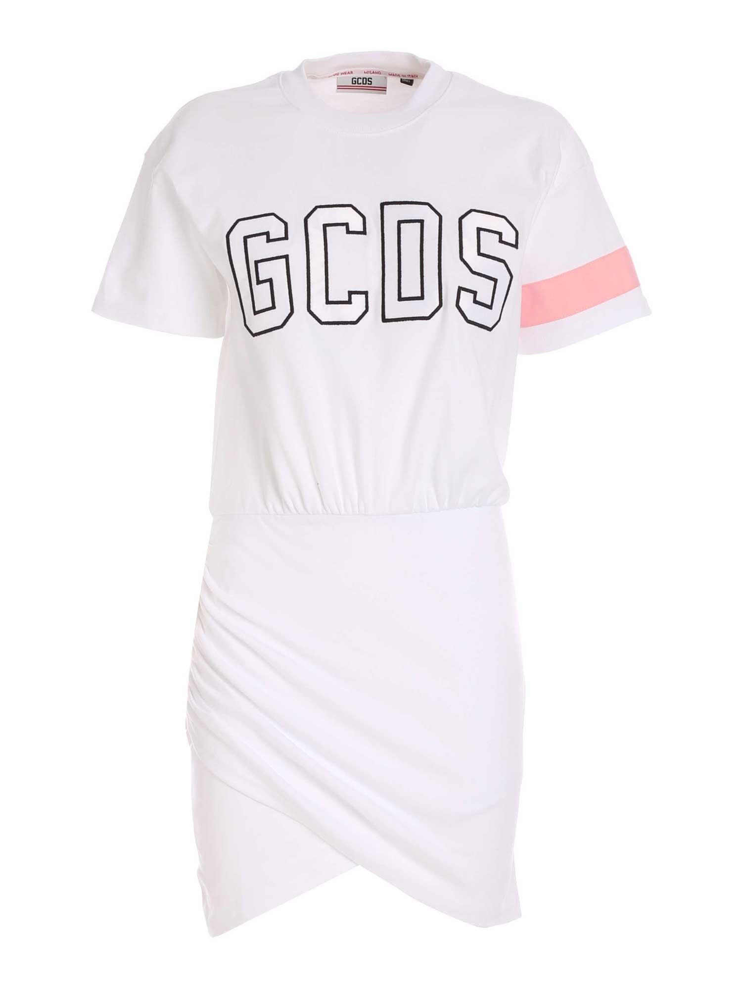 Gcds Cottons LOGO EMBROIDERY DRESS IN WHITE