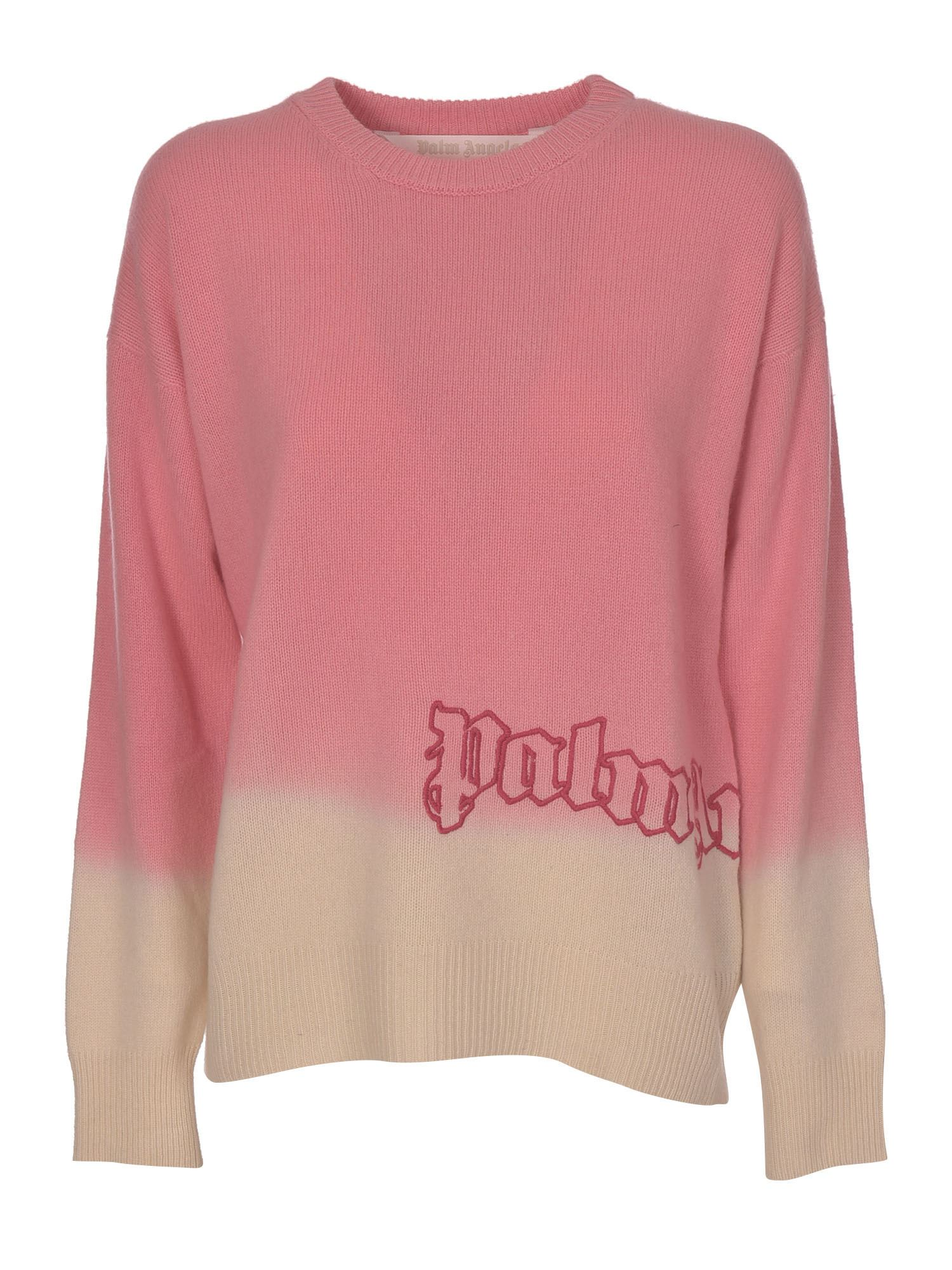 Palm Angels Tops DIPDYE SWEATER IN PINK AND WHITE