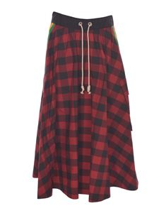 Palm Angels - Buffalo checked skirt in red and black